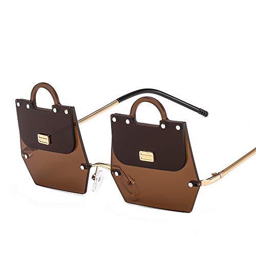 Ou lida Damen Sonnenbrille unregelmäßige Handtasche Sonnenbrille Sonnenbrille Goldrahmen Tee Scheiben