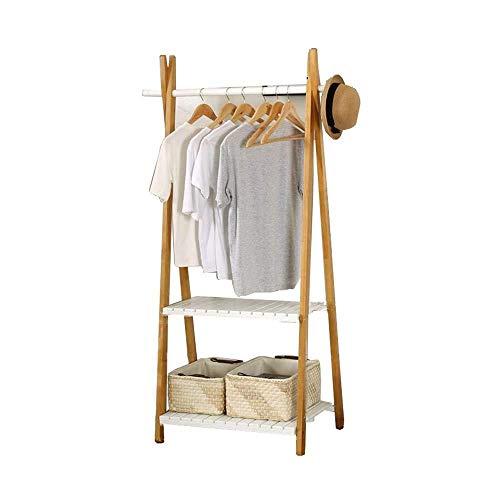 Coat Racks kleding Rails voor het ophangen van hout Vrijstaand 2 planken hal, woonkamer schoenen, hoeden en kleding opslag organisator A