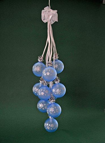 yanka-style Glaskugelgehänge Kugelgehänge Glas Leuchter Kristall hellblau 10flammig beleuchtet ca. 65 cm lang Weihnachten Advent Geschenk Dekoration (41045)