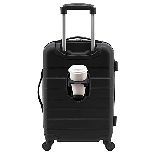 Wrangler Smart Luggage Set with Cup Holder and USB Port, Black, 20-Inch Carry-On