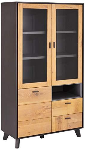 Ibbe Design Vitrine Vitrineschrank Massiv Eiche Holz Grau Lackiert MDF Sentosa mit Glastüre und 2 Schubladen, 97x45x181 cm