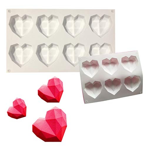 3D Heart Shape Fondant Cake Chocolate Baking Mold Mould Modelling Handy,3pcs Food Grade Silicone Baking Mold for Valentine,Wedding Chocolate,Jelly,Dome Mousse Making (White)