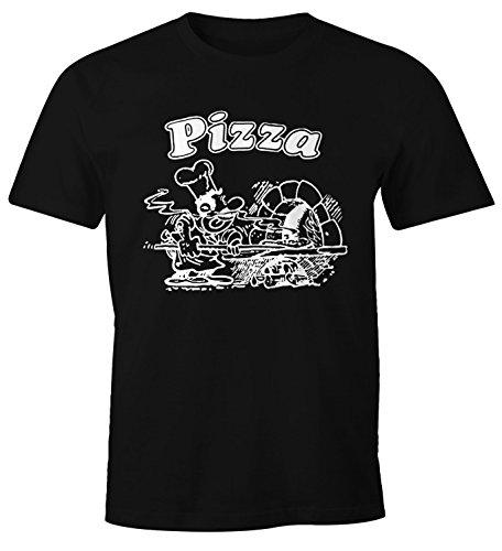 MoonWorks MoonWorks Pizza Shirt Schachtel Motiv Italiano Italien Fun-Shirt schwarz 3XL
