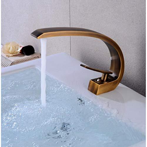 YHSGY Waschtischarmaturen Waschtischarmaturen Moderne Bad Mischbatterie Roségold Waschtischarmatur Einhand Einlochmontage Heißen Und Kalten Wasserfall Wasserhahn