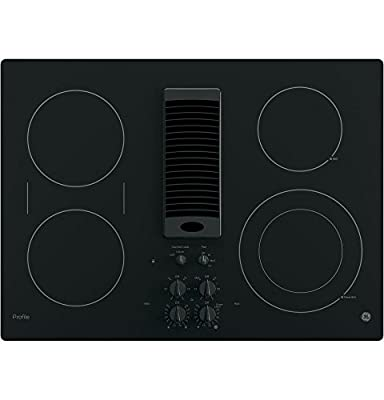 """GE PP9830DJBB 30 Inch Smoothtop Electric Cooktop with 4 Burners, 3-Speed Downdraft Exhaust System, 9""""/6 Inch Power Boil, Bridge Element and, 30"""", Black"""