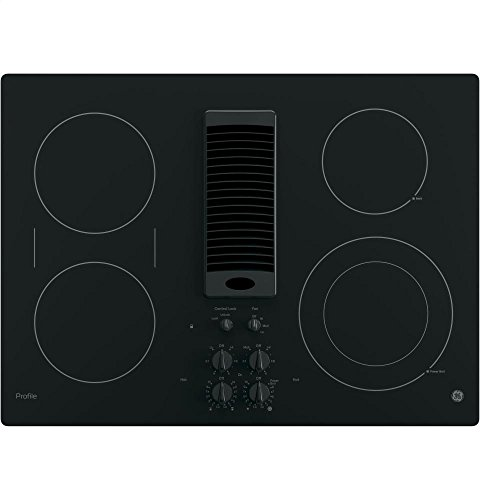 """GE PP9830DJBB Profile Series Electric Cooktop with 4 Burners and 3-Speed Downdraft Exhaust System, 30"""", Black"""
