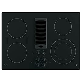 """GE PP9830DJBB Profile Series Electric Cooktop with 4 Burners and 3-Speed Downdraft Exhaust System, 30"""", Black 6 9""""/6"""" Power Boil element: Use different pan sizes on this single, 3, 000-watt flexible element that produces rapid powerful heat. Bridge Element: Combines cooking elements into one cooking area. Control lock capability: Protects against unintended activation."""
