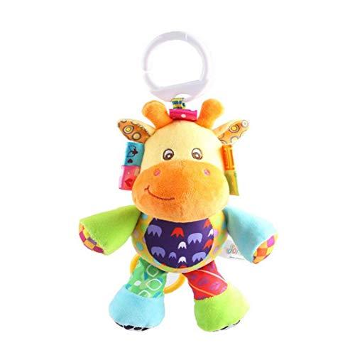 Bebé Musical Cuna Cochecito Juguetes campanilla calmante juguete lindo animal del traqueteo de la muñeca rellena para bebés y niños pequeños niños Cuna SQUEAKER Juguetes 1Pc ciervos niños juguetes