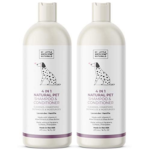 Dog Shampoo and Conditioner Natural 4-In-1 Cleanses Conditions Detangles Moisturizes, Made in USA, 2x16oz, Lavender Vanilla Pet Soap, Tear-Free Hypoallergenic Safe for Puppies, Sulfate Free