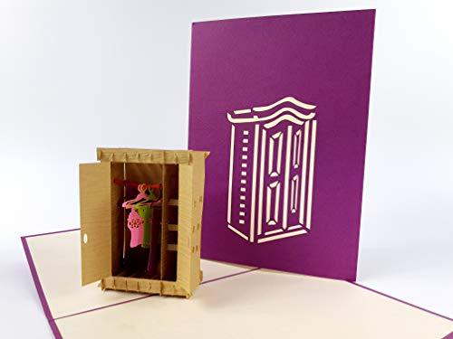 3D Kaarten Tijd om te winkelen! Een grote kast met kleding 3d pop-up kaart Paar op de brug onder een wilg Nieuwe Groeten Kaart, Dank u pop-up wenskaart, Kirigami Paper Craft PostCards, viering, felicitatie