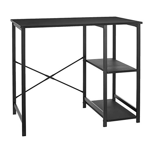 AmazonBasics Classic, Home Office Computer Desk With Shelves, Black