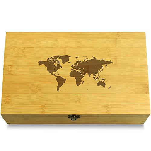 Cookbook People World Map World Travel Multikeep Box - Memento Sustainable Bamboo Adjustable...