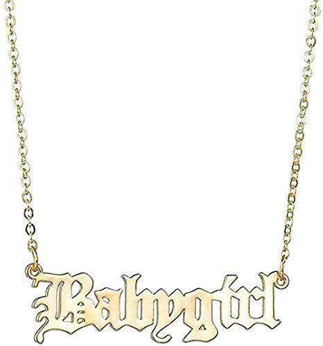 ZJJLWL Co.,ltd Collar Mujer Collar Hombre Accesorios Collar Carta Collar Cerradura Cadena de Hueso Simple Regalo Niñas Niños Collar