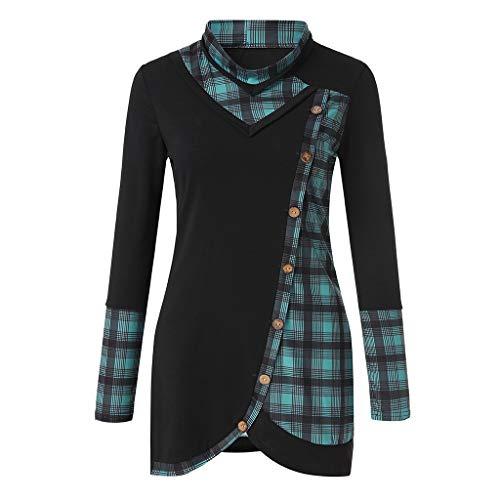NPRADLA Damen Kurzarm/Langarm Shirt mit Spitze T-Shirt Rundhals Oberteil Asymmetrisch Tops Longshirt
