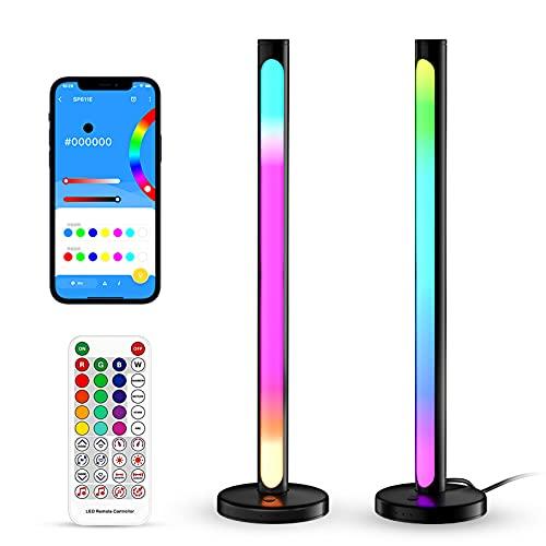 YOUYO Luz de ritmo de control de sonido, barra de luz RGB del coche, luz de atmósfera de escritorio, control de aplicación Bluetooth, fuente de alimentación USB, mejora la atmósfera de entretenimiento