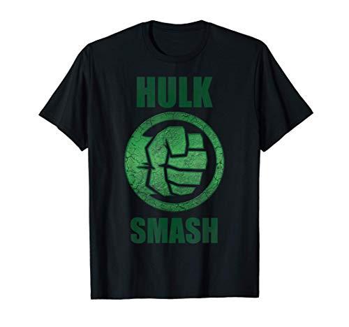 Marvel Hulk Smash Fist Circle Logo Green Stone Poster T-Shirt