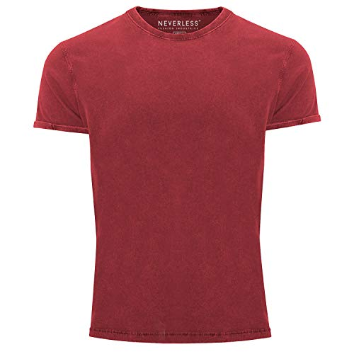 Neverless® Herren T-Shirt Vintage Shirt Printshirt Basic ohne Aufdruck Used Look Slim Fit rot M