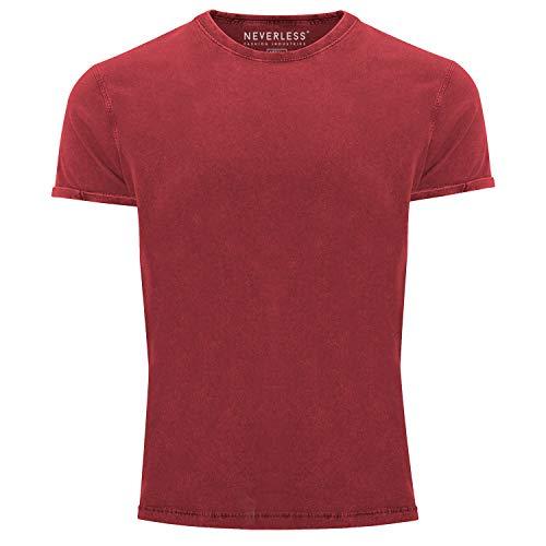 Neverless® Herren T-Shirt Vintage Shirt Printshirt Basic ohne Aufdruck Used Look Slim Fit rot S