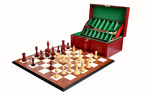 The Imperial Collector Chess Set, Box, Board Combination - 4.4' King - Blood Rosewood and Natural Boxwood