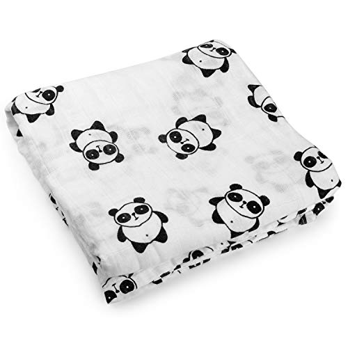 Kyapoo Muslin Swaddle Blankets 100% Cotton, Soft and Breathable,Panda, Large 47'' X 47'', 1 Pack