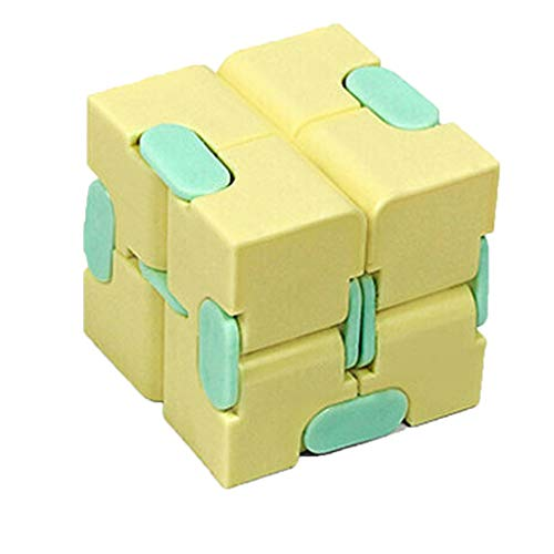 NEW HE Infinity Cube Fidget Toy for Kids & Adults, Sensory Stress Relief Decompression Fidget Finger Toys Stress and Anxiety Relief Cool Hand Mini Kill Time Toys Infinite Cube for Add, ADHD (Yellow)