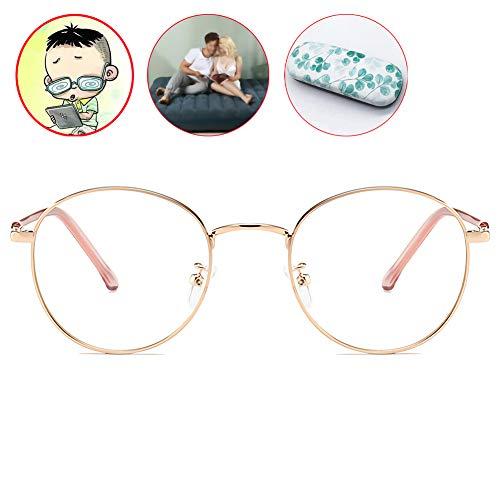 HFSKJ Myopie Brille,Anti-Blu-Ray Kurzsichtige Brille,Metall Retro Brillen,Roségold Rahmen Nerd Brille -0,5 Bis -6,0 Stärke,Negative 1.0