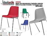 Sedia Da Ufficio Poltrona Fissa per Sala Attesa sedia con monoscocca in plastica colorata ...