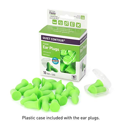 Flents Ear Plugs, 10 Pair with Case, Ear Plugs for Sleeping, Snoring, Loud Noise, Traveling, Concerts, Construction, & Studying, NRR 29