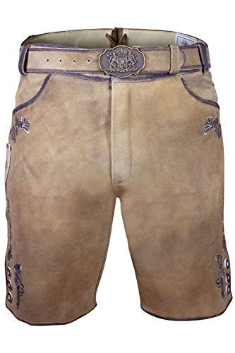 Bayerische Traditionelle Krachlederne Kurze Lederhose Linus aus weichem Ziegenleder inkl. Gürtel Gr. 46-64 (46)