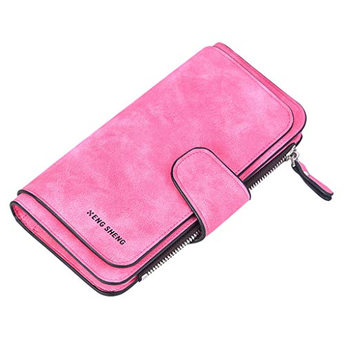 ildlor Fashion Lady Solid Color Matte Purse,New Long Section Three Fold Multi-Card Wallet Bags for women