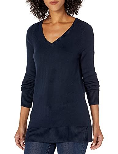 Lark & Ro Women's Long Sleeve Tunic V-Neck Sweater, Navy, X-Small