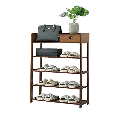 Zapato Rack Shoe Rack con cajón Bambú 4 niveles de almacenamiento Mueble de almacenamiento Simple Hallway Organizer Estantes de almacenamiento Muebles Sólido Madera Espacio Saving Zapatos Organizador