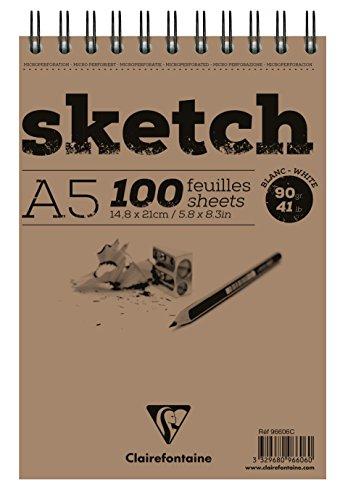 Clairefontaine 96606C Skizzenblock Sketch (100 Blatt, DIN A5, 14,8 x 21 cm, Spiral, mikroperforiert, 90 g) weiß