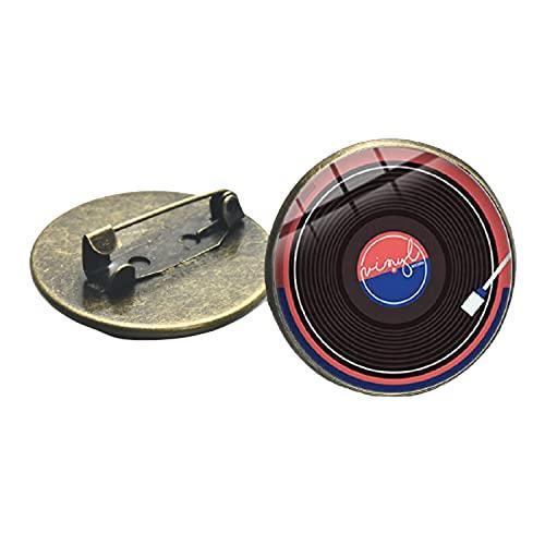 Broche en métal avec cabochon en verre imprimé en 3D en forme de disque vinyle pour les amateurs de musique, cadeau créatif, bijou vintage