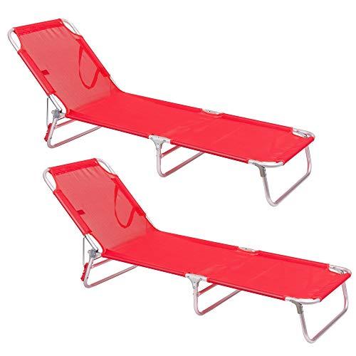 LOLAhome Pack de 2 tumbonas Playa Cama de 3 Posiciones Coral de Aluminio y textileno de 190x58x25 cm