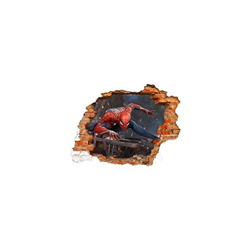 Sticker trompe l'oeil 3D mur déchiré Spiderman - Normal, L 150cm x H 112cm
