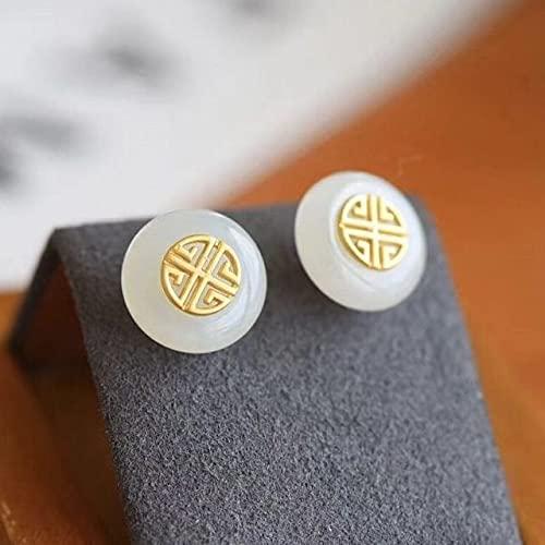 JIUXIAO Pendientes de Jade Blanco Hetian Natural con Incrustaciones de Plata Estilo Chino Retro único Encanto Artesanal de Oro Antiguo joyería de Marca para Mujer