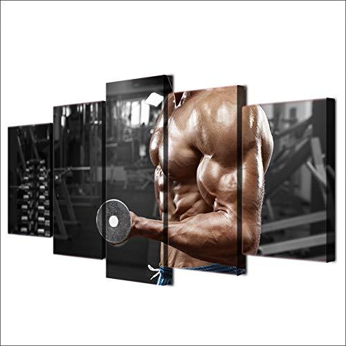 TIANJJss 5 foto's op canvas met moderne afbeelding op canvas gedrukt HD poster voor thuisdecoratie 5 stuks fitnessstudio korte halters fitness beelden sport