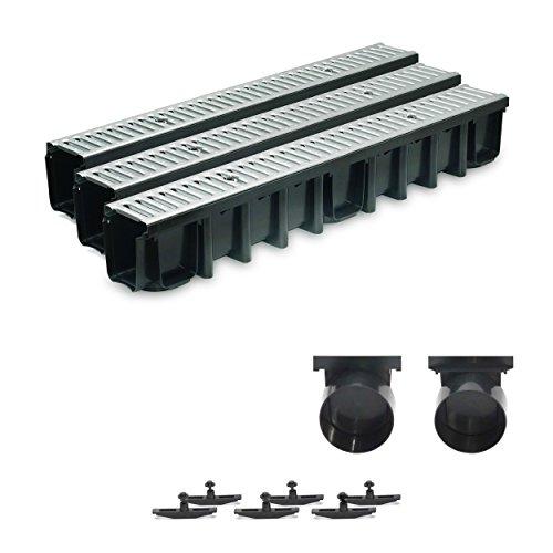 3m Entwässerungsrinne Terrassenrinne Stahlrost verzinkt komplett SET, System A15 148mm, inkl. Zubehör