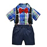 Julhold Kleinkind Baby Jungen Mode Gentleman Bow Plaid Krawatte Party T-Shirt Tops + Shorts Overalls Outfits 0-5 Jahre