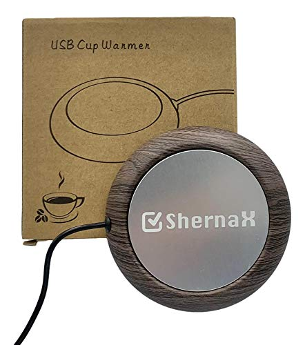 Shernax, Placa usb para mantener caliente taza de cafe con el ordenador (Madera oscura)