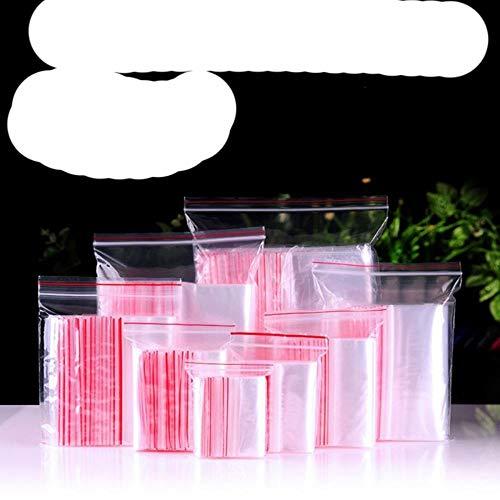 100 Stück Kleine Plastiktüten mit Reißverschluss Wiederverschließbare transparente Tasche Jelry-Tasche Vakuum-Aufbewahrungstasche Poly Clear Taschen Dicke 0,12 mm-4 x 6 cm 100 Stück, rote Kante 0,6 mm