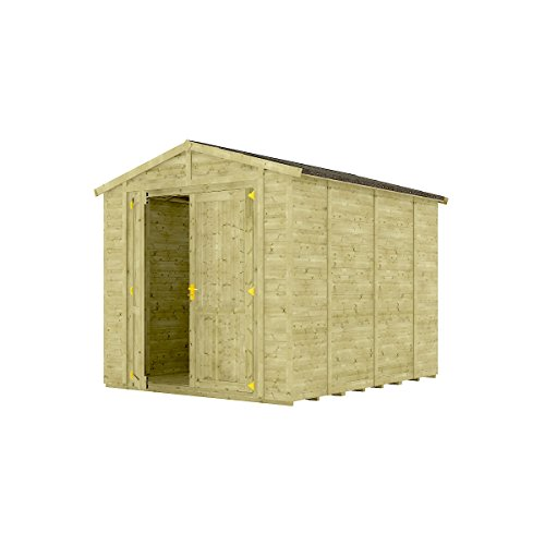 10 x 8 Pressure Treated Windowless Grandmaster Wooden Garden Shed Traditional Apex Gable Double Door 10FT x 8FT