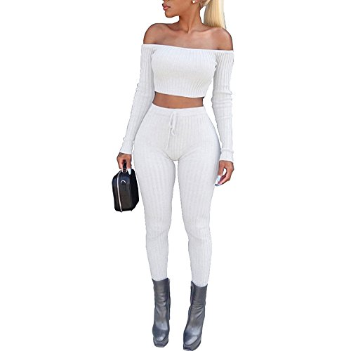 Vrouwen Mode 2 Stuk Set Lange Mouw Off Schouder Top en Leggings Stretch-Fit Gym Wear Set Casual Bodycon Sportswear