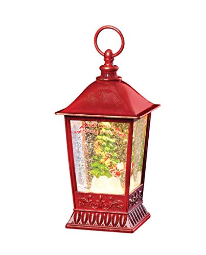 Roman - Lighted Swirl Santa Lantern, 8.75' H, Plastic, Battery Operated, Christmas Collection, Home Dcor, Adorable Gift, Durable, Beautifully Detailed