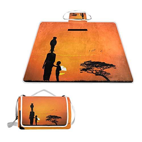 XINGAKA Manta de Picnic Impermeable,Niño Afro y Madre en la impresión del Postre,Alfombra Plegable para Camping Parque