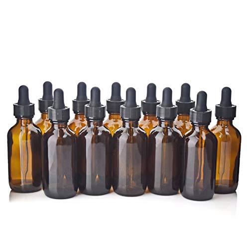 Botella contenedor 12 unids 60 ml de vidrio ámbar botellas de gotero vacío botella de pipeta de vidrio marrón para aceites esenciales Los productos químicos de los productos químicos recipientes cosmé