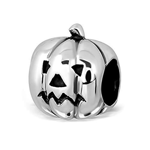 Sistakno Charm-Anhänger aus 925 Sterlingsilber, 3D-Halloween-Design, gebogener Kürbis-Anhänger mit lächelndem Gesicht und neutralem Gesicht (2 Seiten)