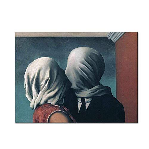 nr Rene Magritte Die Liebenden Poster Home Decoration Drucke für Wohnzimmer Geschenk Druck auf Leinwand -50x75cm Rahmenlos