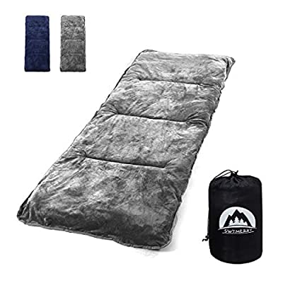 """SWTMERRY Sleeping Cot Pads (75"""" x 29"""") with Elastic Straps Portable for Outdoor & Hiking, Cotton Soft Thick Camping Cot Pad,Waterproof - Grey & NavyBlue"""